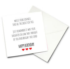 Funny Humour Mother Father In Law Birthday Card FREE PP Daughter Son