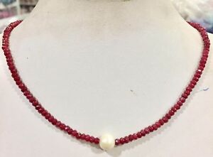 11-12mm-White-Freshwater-Pearl-amp-2x4mm-Red-Ruby-Faceted-abacus-Necklace-18-034-AAA