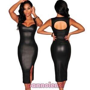 differently 20921 d253c Detalles de Vestito donna aderente mini abito finta pelle spacco schiena  nuda nuovo DL-1541
