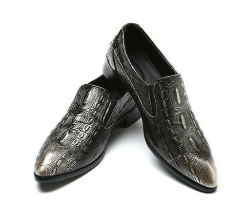 Details about  /Mens Cuban Alligator Pattern Business Loafers Pumps Shoes Slip On Dress Oxfords