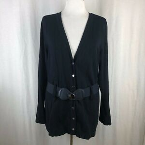 Alfani-Solid-Black-Belted-Button-Front-Cardigan-Sweater-Large