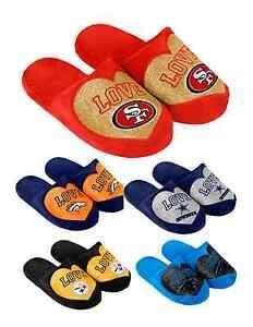 4b1cb6205d7 NFL Football Team Logo Warm Winter LOVE Glitter Slide Slippers ...