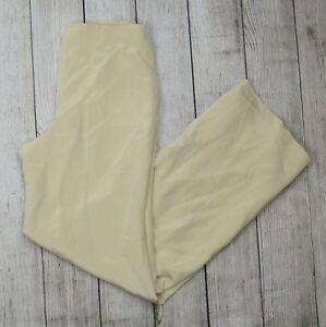 Back Flores Slacks Størrelse Women's Zip Wide Bukser Dress Silk Beige 4 Leg 6r07n6