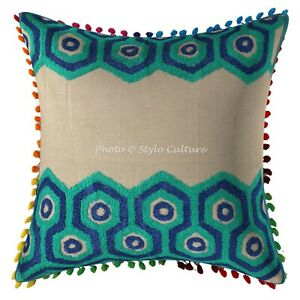 Brilliant Details About Cotton Couch Throw Pillow Covers Green 16X16 Embroidery Pom Pom Cushion Cover Creativecarmelina Interior Chair Design Creativecarmelinacom