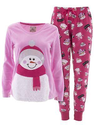 PJ Couture Women/'s Snowman Pink Fleece Long Sleeved Two-Piece Pajamas