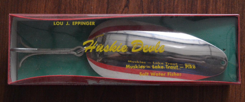 NOS Eppinger's Huskie Devle 3 1 8 Oz Spoon Lure Box Sliver Finish
