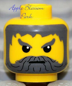 NEW Lego Male MINIFIG HEAD w/Gray Moustache Beard - Castle Kingdoms Angry Knight