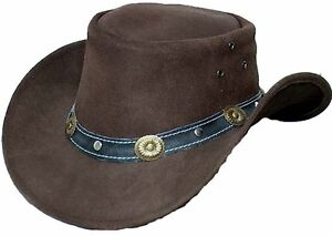 7e3188c0c2d02 Image is loading Genuine-Cowhide-Leather-Western-Cowboy-Hat-Brown-with-