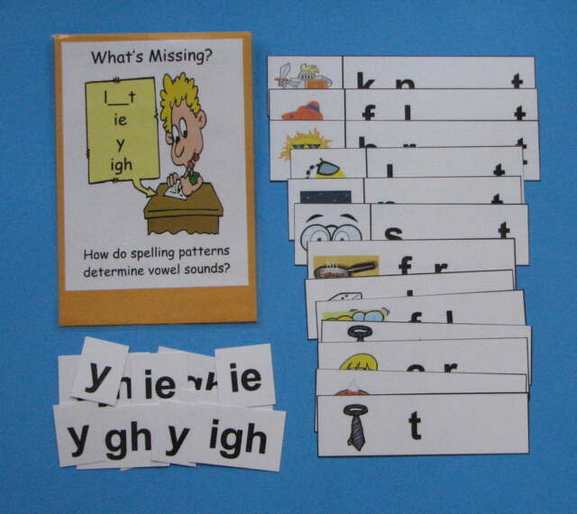 Teacher Made Literacy Center Resource Game Long Vowel Patterns ie, igh & y