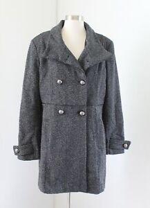 Vince-Camuto-Gray-Black-Herringbone-Wool-Blend-Peacoat-Jacket-Coat-Size-L-Read