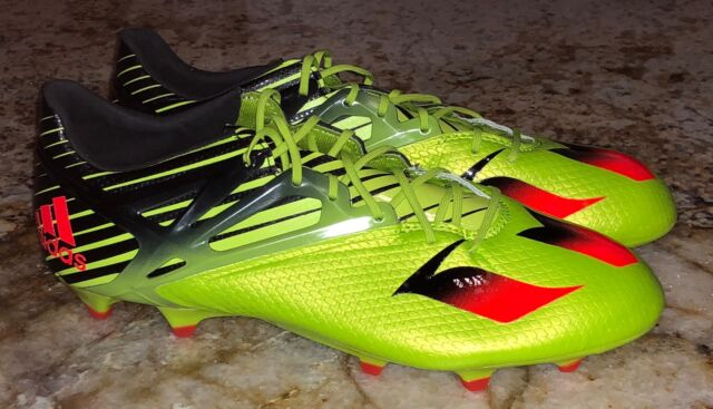 check out 1621a b9dfa ADIDAS Messi 15.1 FG AG Slime Green Solar Red Black Soccer Cleats NEW Mens  9.5