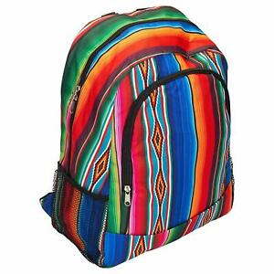 ab8d2d8a5971 Details about Serape Patterned 14 x 17 Inch Large Microfiber Zipper Padded  Backpack