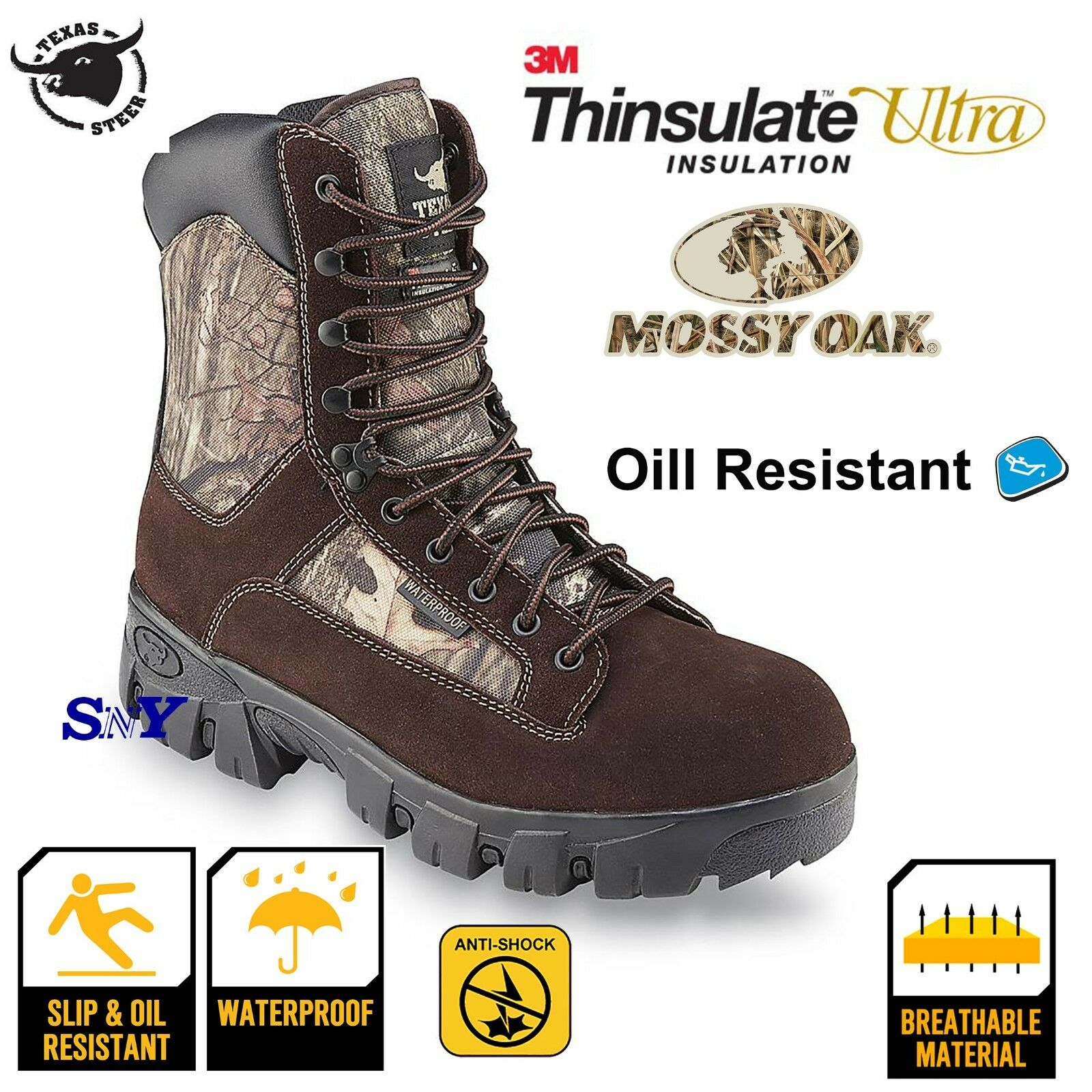 Waterproof fishing hunting work boots insulated boot cushioned slip resistant ts