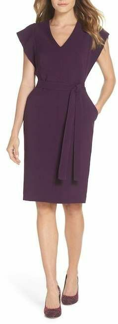 Eliza J Ruffle Sleeves Belted Sheath Dress lila Crepe V-Neck NWT Sz 2 Fits S