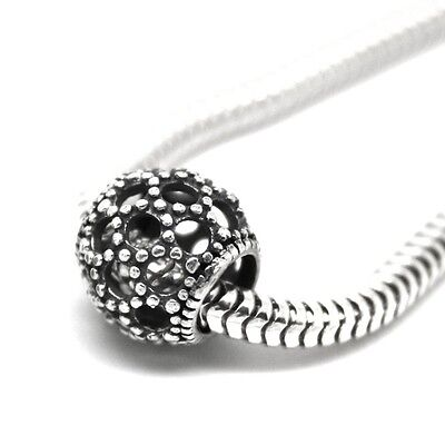 Openwork Beaded WEAVE CAGE spacer- Solid 925 sterling silver European charm bead