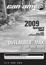 New Can-Am Outlander Max 500 650 800R 2009 Owners Operators Manual FREE SHIPPING