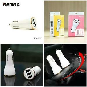 GOLD-COLOUR-Genuine-Remax-DOLFIN-3-USB-Port-Car-Charger-3-4A-High-Speed