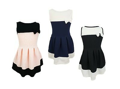 Girls Kids Sleeveless Bow Party Casual Textured Skater Dress Age 4 to 14 Years
