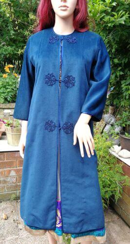 lang håndlavet blå 14 l jakke 12 Boho jakke orientalsk stil benzin Fairtrade 0dqTpfw0