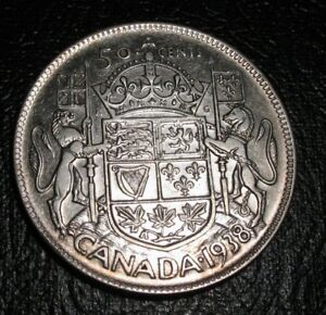 OLD-CANADIAN-COINS-CHOICE-1938-CANADA-FIFTY-CENTS