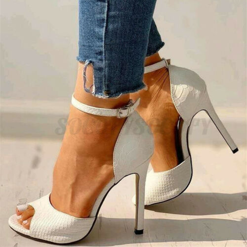 Details about  /Nis Women Stiletto Shoes High Heel Sandals Ankle Strap Buckle Peep Toe
