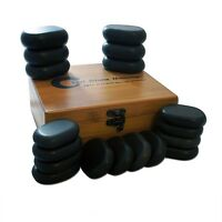 16-28pc Basalt Polished Massage Spa Hot Stone Therapy Box Set Rocks Oval Health