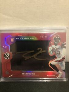 2020 Panini Elements Rookie Neon Signs Red #TH Tee Higgins RC Auto /25