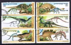 Animales-Prehistoricos-Camboya-4-serie-completo-6-sellos-matasellados