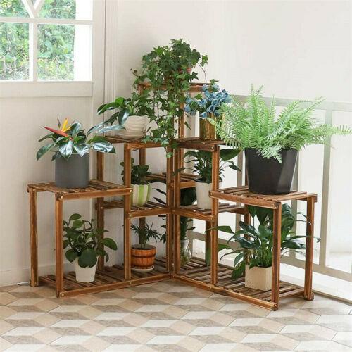 Corner Wood Plant Stand In//Outdoor Garden Planter Flower Pot Stand Display Rack