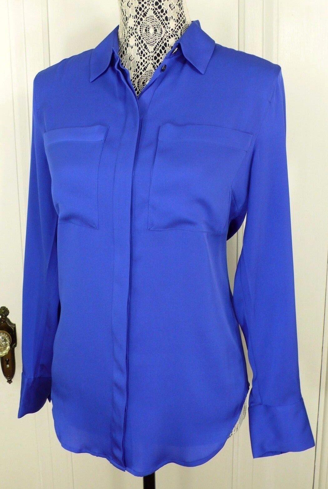 Neuf avec étiquettes J. CREW Retail  138 Soie Poche Manches Longues Chemisier Profond Bleu Azur Taille 6