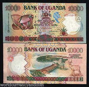 UGANDA 10000 10,000 SHILLINGS P38 b 1998 OWEN MUSIC DAM ANTELOPE UNC MONEY NOTE