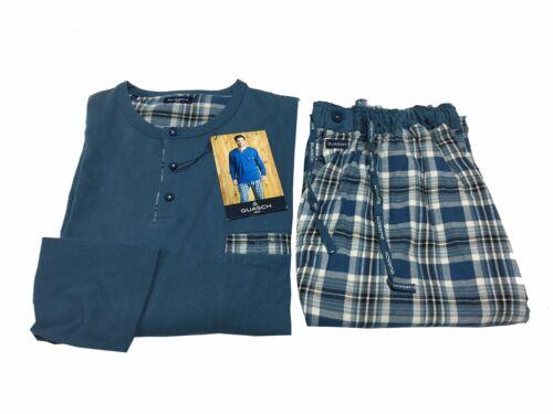 GUASCH pigiama uomo pantalone flanella tessuto quadri azzurro 100/% cotone