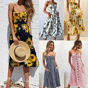 abcfab2d5281 Image is loading Boho-Womens-Sleeveless-Floral-Evening-Prom-Party-Cocktail-