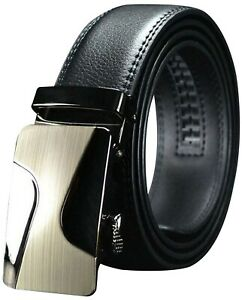 QHA Mens Automatic Leather Belt Buckle Ratchet Waist Q5021