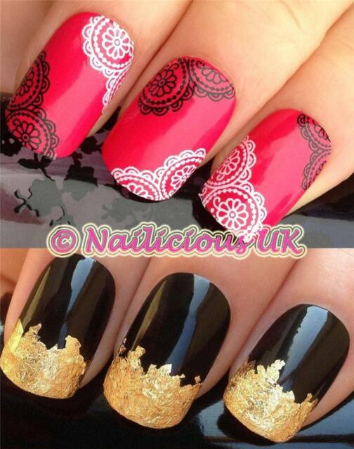 NAIL ART SET #77. B+W FLORAL LACE WATER TRANSFERS/DECALS/STICKERS & GOLD LEAF