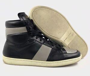 86afb8d0aac Yves Saint Laurent YSL SL/10 H Leather High Top Sneaker Black Grey ...