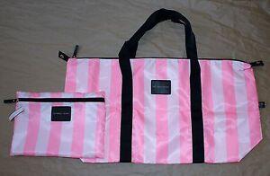 Victoria's Secret Pink Striped Large Satin Weekend Tote Bag & Cosmetic Bag