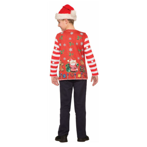 Child Festive Holiday Christmas Long Sleeve Shirt Decorated Ugly Sweater Party