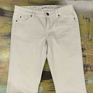 INC-Denim-Women-039-s-Size-4-Gray-White-Striped-Skinny-Regular-Fit-Cropped-Jeans