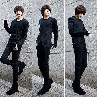 Stylish Men Korean Skinny Black Jeans Slim Fit Long Pant Stretch Trousers Slacks