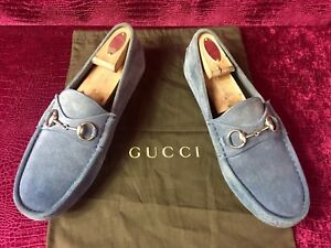 Mens-Blue-Gucci-Suede-Horsebit-Drivers-Sz-7-G-8-US-Made-In-ITALY