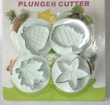 Fruit Plunger Cutter Sugarcraft Strawberry & Pinapple with Leafs Fondant