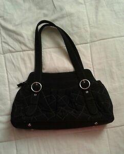 510c8161a7 Image is loading Vera-Bradley-Black-Microfiber-Quilted-Shoulder-Bag-Purse