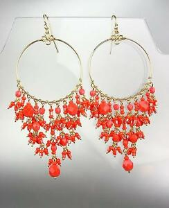 GORGEOUS-Coral-Red-Crystals-Peruvian-Beads-Gold-Chandelier-Dangle-Earrings