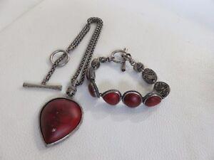 Lucky-Brand-Bracelet-and-Necklace-Set-Red-Stone-Bohemian-Boho-Hippie