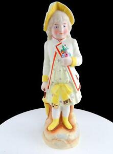 """GEBRUDER HEUBACH GERMANY GIRL IN YELLOW OUTFIT & UMBRELLA 9 1/2"""" BISQUE FIGURINE"""