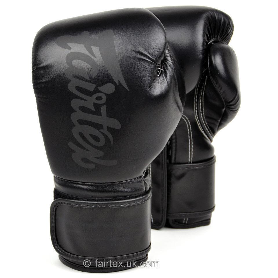 FAIRTEX GLOVES BGV14SB BLACK ON BLACK MUAY THAI KICK BOXING MMA UFC SOLID BLACK