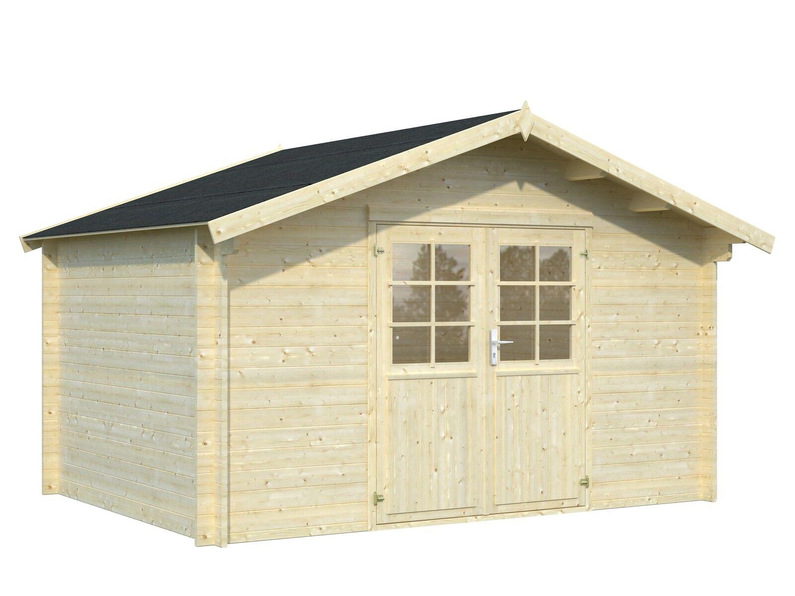 34 mm gartenhaus greta ca 4x3m holz schleppdach ger tehaus blockhaus holzhaus ebay. Black Bedroom Furniture Sets. Home Design Ideas