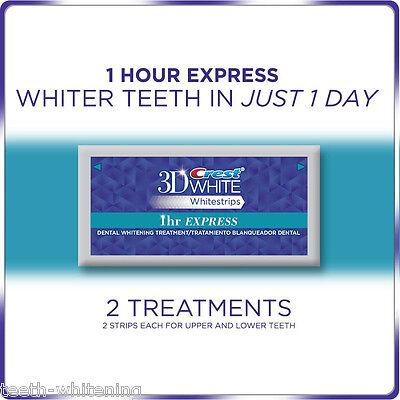 NEW CREST 3D WHITE 1 HOUR EXPRESS WHITESTRIPS - TEETH WHITENING STRIPS NOT 2 HR