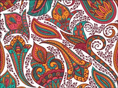 Indian paisley pattern colourful brightEdible Cake Topper Wafer Icing Decoration